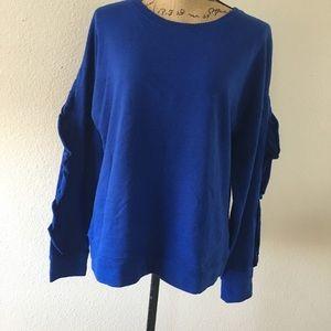 Sanctuary solid blue sweatshirt w/ ruffles on arms